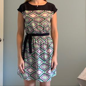 Blue Purple Green Office Sheath Dress Small